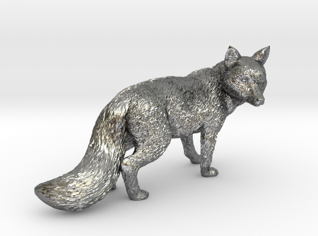 Fox statue in Polished Silver