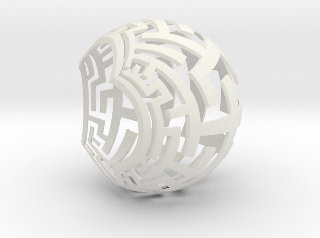 Stereographic Maze Lamp in White Natural Versatile Plastic