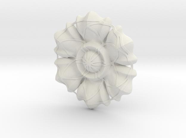 Figure Rosette in White Natural Versatile Plastic: Medium