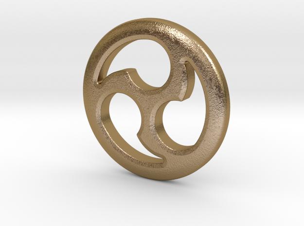 """Tomoe Medallion 1.3"""" (HiRes) in Polished Gold Steel"""