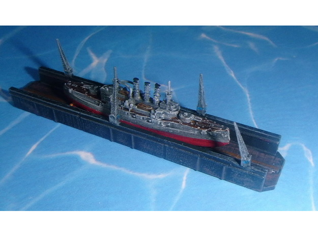 Floating Drydock old style 1 Section 1/1800 3d printed 1/2400 Model - Ship not included