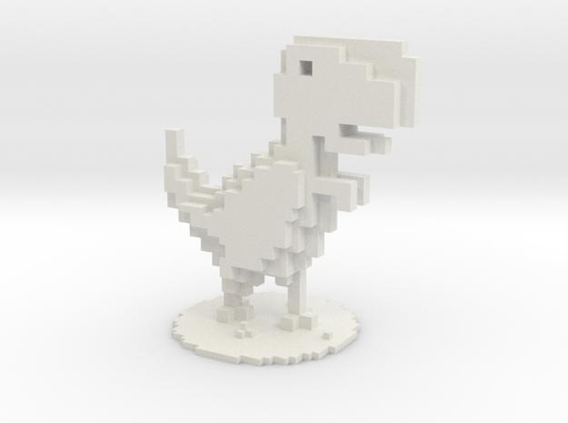 Voxel Dino T-Rex Chrome in White Natural Versatile Plastic