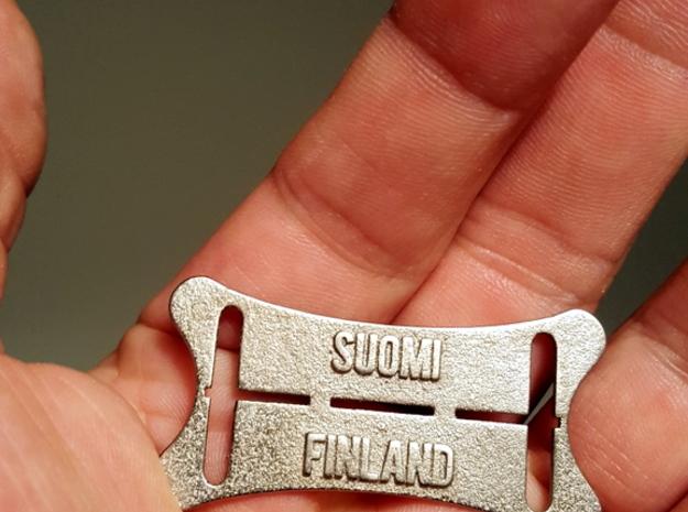 Jatkosota Tunnuslevy Teräs. Suomi Finland in Polished Nickel Steel
