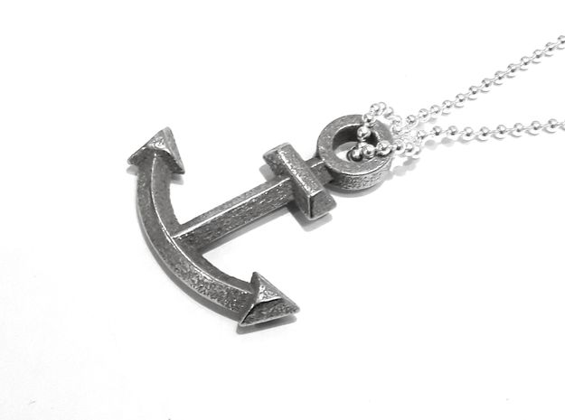 Anchor Pendant (From $9) in Polished Bronzed Silver Steel