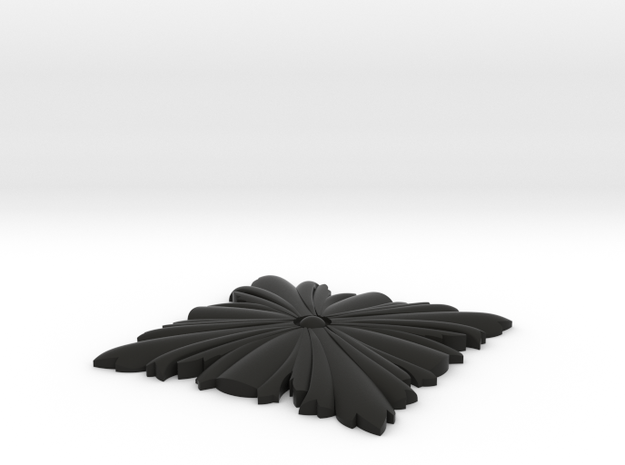 Newel Post Pendant Leaf in Black Natural Versatile Plastic: Small
