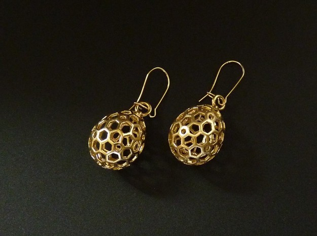 Sweet Egg Drop Earrings in Natural Brass