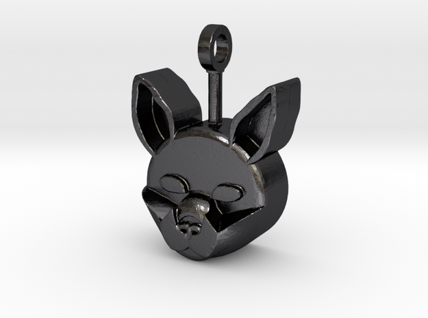 Classic Cat Pendant in Polished and Bronzed Black Steel: Small