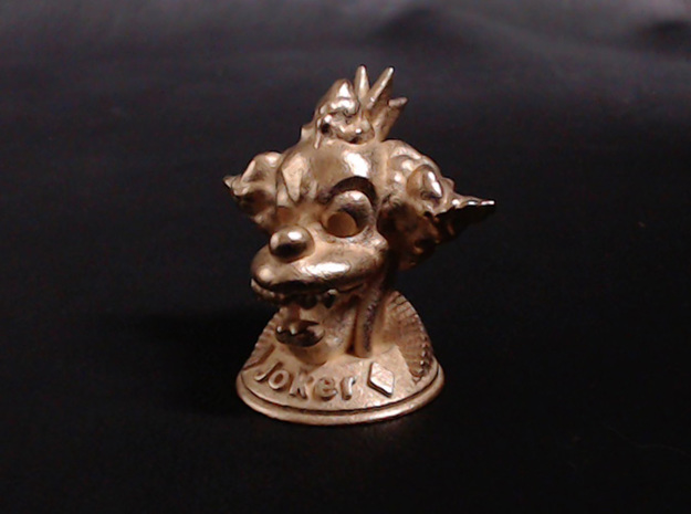 Joker  3d printed Shown in Polished Gold Steel