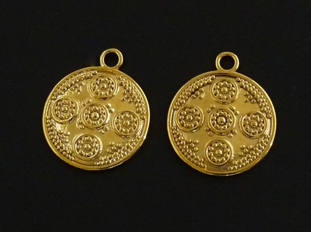 Granulated Round Drop Earrings in Polished Brass