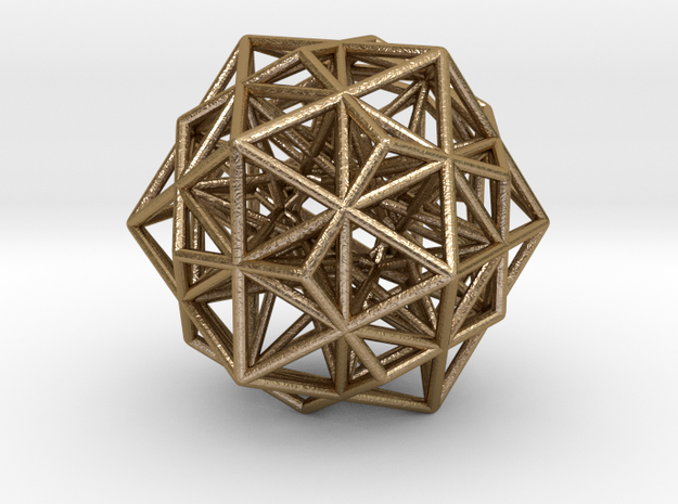 "Super Stellated IcosiDodecahedron 1.4"" in Polished Gold Steel"