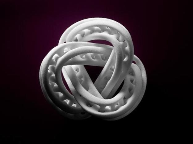 Trefoil Knot Double Moebius0,035.-8cm in White Strong & Flexible