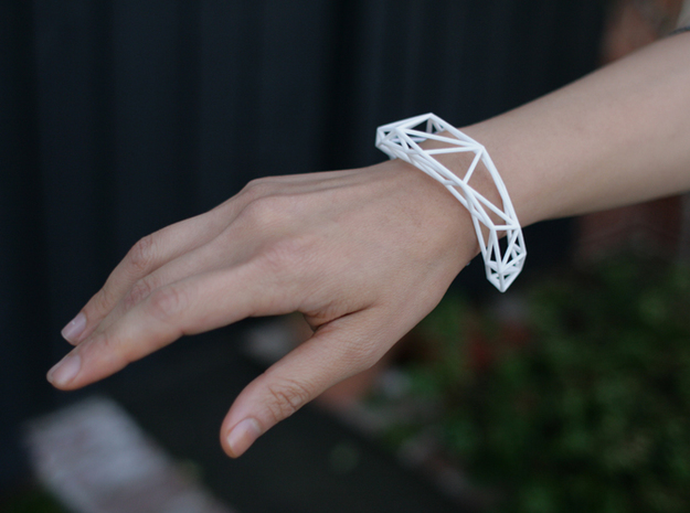 Thin Lena Bracelet - Medium (Strong and Flexible) in White Natural Versatile Plastic
