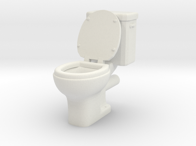 Toilet 01. 1:24 Scale in White Strong & Flexible