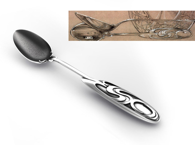 Mucha Exclusive Spoon in Polished Nickel Steel