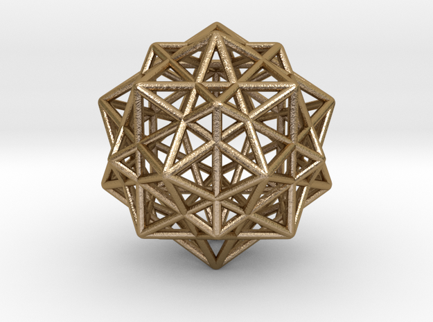 Icosahedron with Star Faced Dodecahedron in Polished Gold Steel