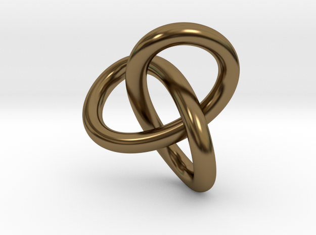 Math Art - Gordian Knot  Pendant in Polished Bronze