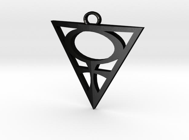 Goddesses: Venus Centered small pendant in Matte Black Steel