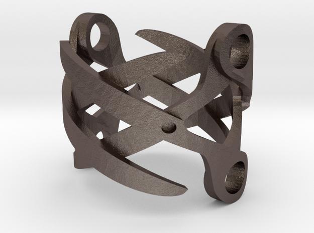 Sapphic: ScissorRing size 7 in Polished Bronzed Silver Steel