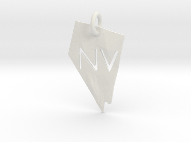 Nevada State Pendant in White Natural Versatile Plastic