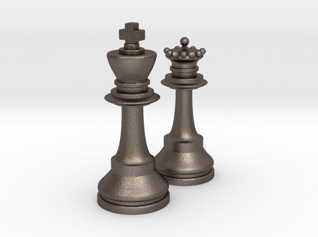 King and Queen in Polished Bronzed Silver Steel