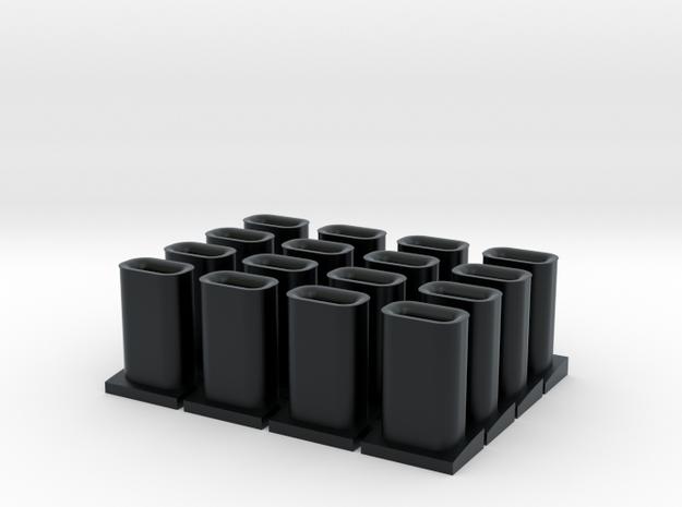Exhaust Stacks - Santa Fe Alco Switchers (N/HO) in Black Hi-Def Acrylate: 1:160 - N
