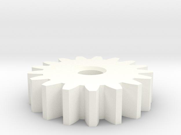 GearModule1.0 17teeth 20deg Pressure Angle NoHub D in White Strong & Flexible Polished