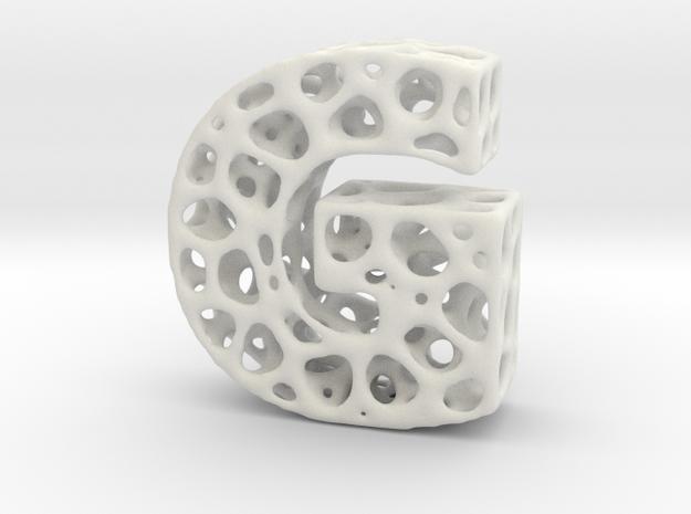 Voronoi Letter ( alphabet ) G in White Strong & Flexible