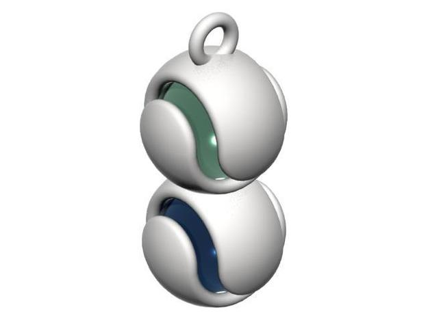 Double Marble Pendant 3d printed CGI Rendering with marbles (not included)