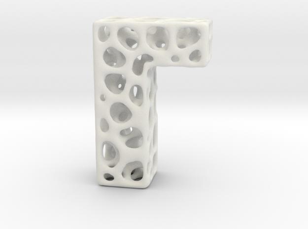 Voronoi Letter ( alphabet ) L in White Natural Versatile Plastic