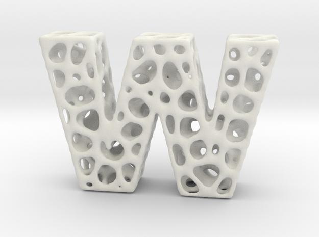 Voronoi Letter ( alphabet ) W in White Natural Versatile Plastic