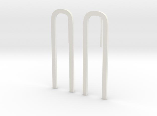 Bend Earrings in White Natural Versatile Plastic