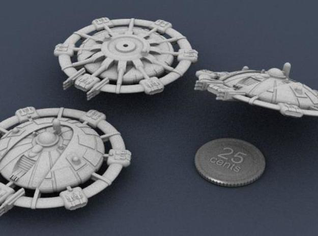 Martian Tharsis class Command Carrier 3d printed 3D Render of the Tharsis, showing 3 views, with a fake quarter for scale.
