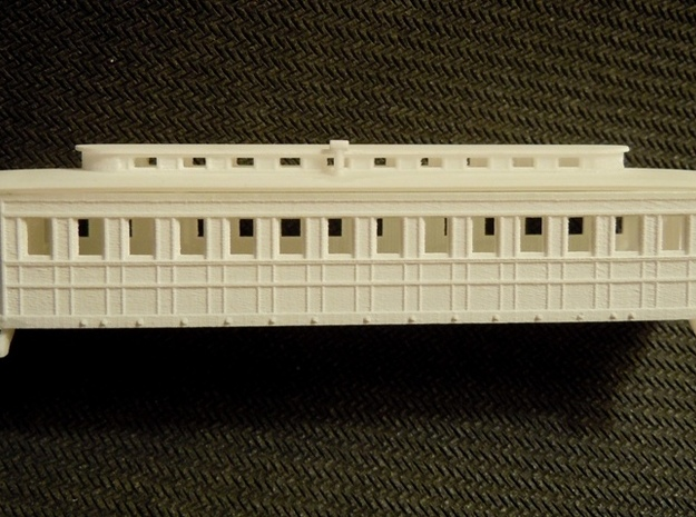 R08i N monitor roof coach, Pensy 1861, w/ int. in Smooth Fine Detail Plastic