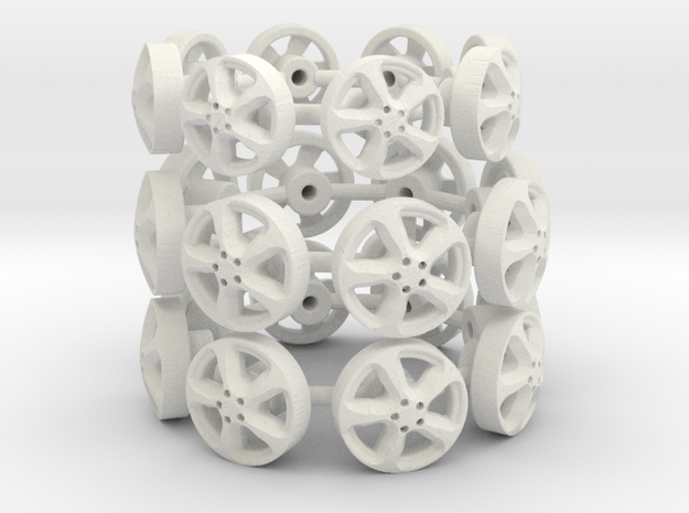 1:43 Scale model wheels in White Natural Versatile Plastic
