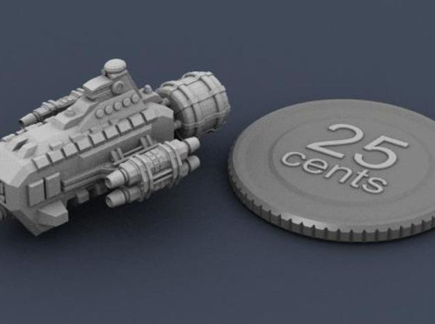 Jovian Garon class Escort 3d printed Render of the ship mini, with virtual quarter for scale.