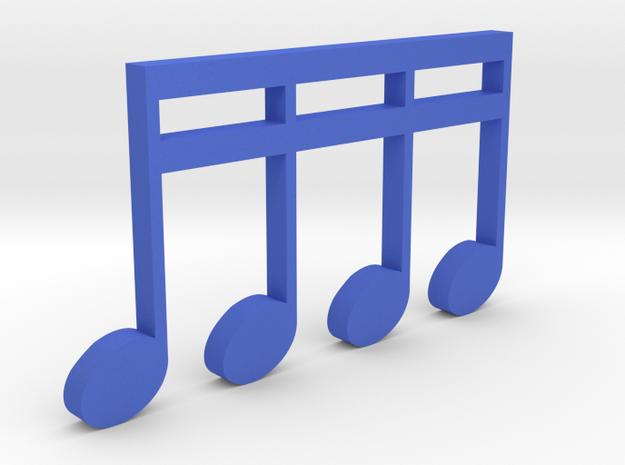 Music Pendant - 4 Sixteenth Notes in Blue Processed Versatile Plastic