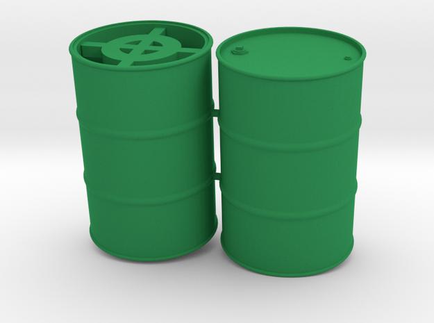 55 Gal Drum, Closed Top with Wine Bottles, x2 in Green Processed Versatile Plastic