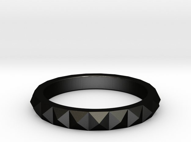 studded ring in Matte Black Steel