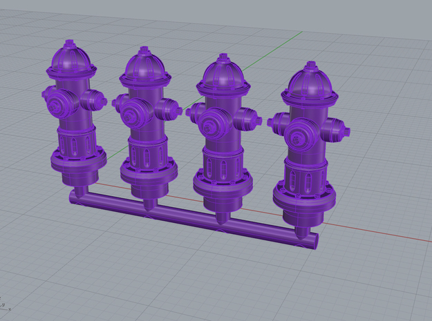 Hydrant 28mm Group in Smoothest Fine Detail Plastic