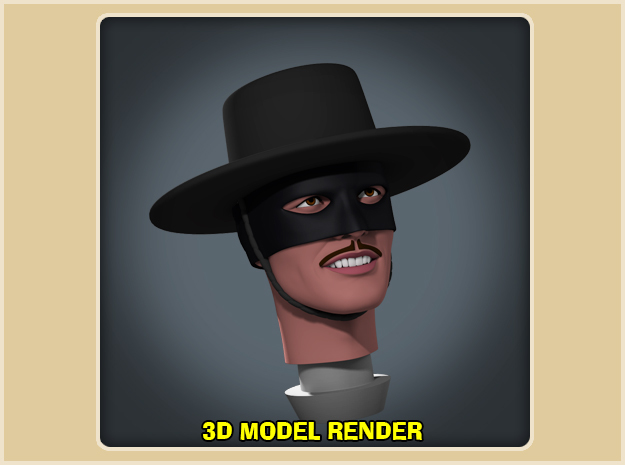1:9 Scale Zorro Head in White Strong & Flexible Polished