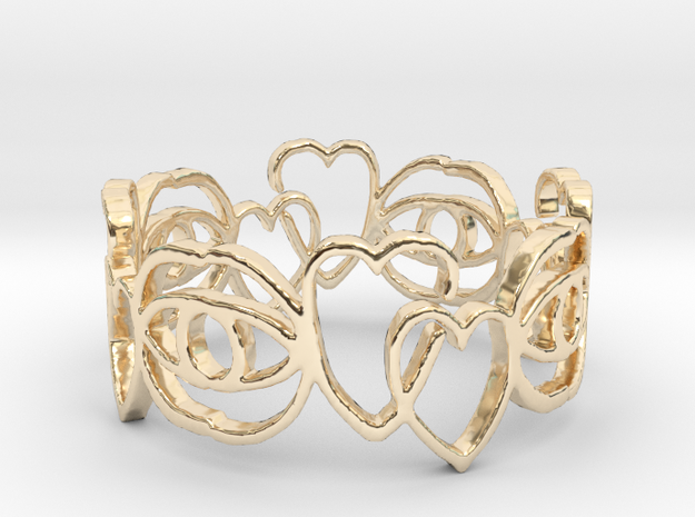 Hearts Ring Design Ring Size 6 in 14k Gold Plated Brass