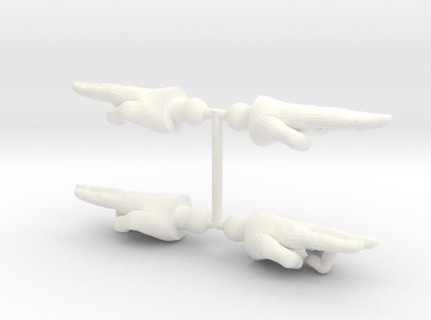 Enforcer Hands 2-Pack in White Strong & Flexible Polished
