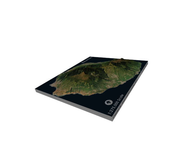 Reunion Island Map in Glossy Full Color Sandstone