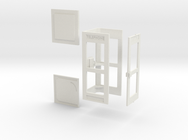 1/43 cabine téléphonique / french phone box in White Natural Versatile Plastic