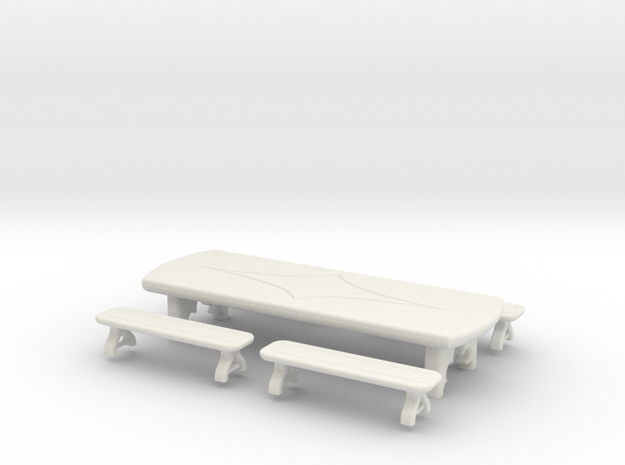 Table: Tavern: with Benches 1:48 in White Natural Versatile Plastic