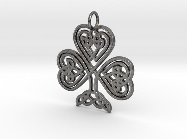 Celtic Shamrock Pendant Elegant Irish Charm in Polished Nickel Steel