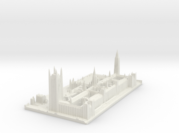 Palace of Westminster / Big Ben Map, London in White Strong & Flexible
