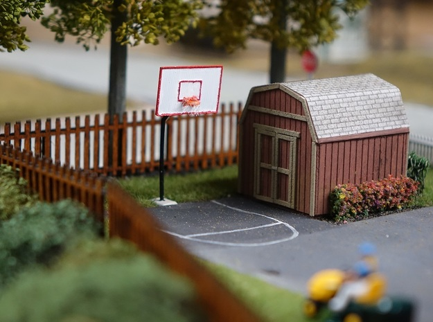 HO Scale Basketball Hoop in Smooth Fine Detail Plastic