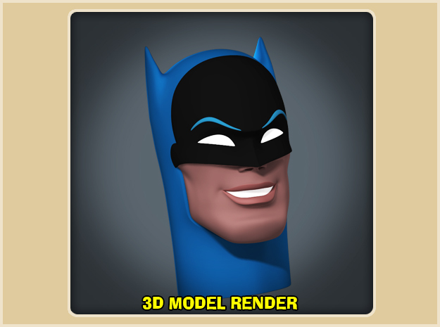 1:6 Scale Batman Head in White Strong & Flexible Polished