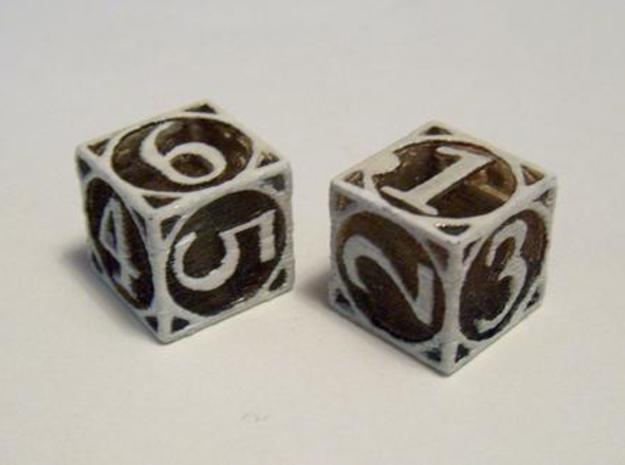 Circle Theme Die6 3d printed In Transparent Detail, dyed with tea and drybrushed with white acrylic paint.